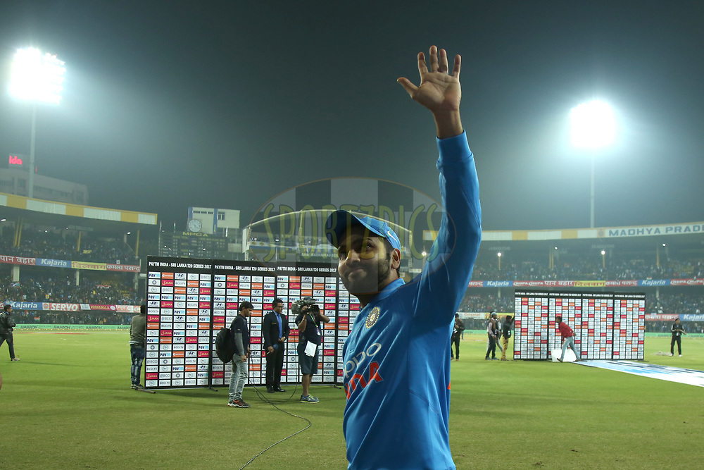 Rohit Sharma Captain of India celebrates win during the second International T20 match (T20i) held at the the Holkar Cricket Stadium, Indore between India and Sri Lanka on the 22nd December 2017<br /> <br /> Photo by Deepak Malik / BCCI / Sportzpics