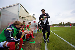 NEWPORT, WALES - Sunday, September 24, 2017: Wales coaches prepare a substitution during an Under-16 International friendly match between Wales and Gibraltar at the Newport Stadium. (Pic by David Rawcliffe/Propaganda)