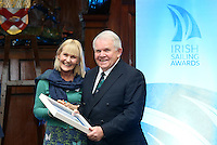 REPRO FREE***PRESS RELEASE NO REPRODUCTION FEE***<br /> Irish Sailing Awards, Royal College of Surgeons, Stephen's Green, Dublin 4/2/2016<br /> National Yacht Club sailor Liam Shanahan was named the 2015 Irish Sailor of the Year today at the Irish Sailing Awards in Dublin - Shanahan had a remarkable year, including victory in the Dun Laoghaire to Dingle race in June on his boat Ruth with two miles to spare.<br /> Kilkenny's Doug Elmes and Malahide's Colin O'Sullivan jointly took home the Irish Sailing Association (ISA) Youth Sailor of the Year award. The Howth Yacht Club sailors were hotly tipped following their recent Bronze medal success at the 2015 Youth World Championships in Malaysia, where they took Ireland's first doublehanded youth worlds medal in 19 years.<br /> The Mitsubishi Motors Sailing Club of the Year award was presented to the Royal Irish Yacht Club in honour of their success at local, national and international level.<br /> Mullingar Sailing Club took home the ISA Training Centre of the Year award, having been nominated as winners of the western-region Training Centre of the Year.<br /> Fionn Lyden, Sailor of the Month winner for March, and David Lovegrove, President ISA<br /> Mandatory Credit ©INPHO/Cathal Noonan