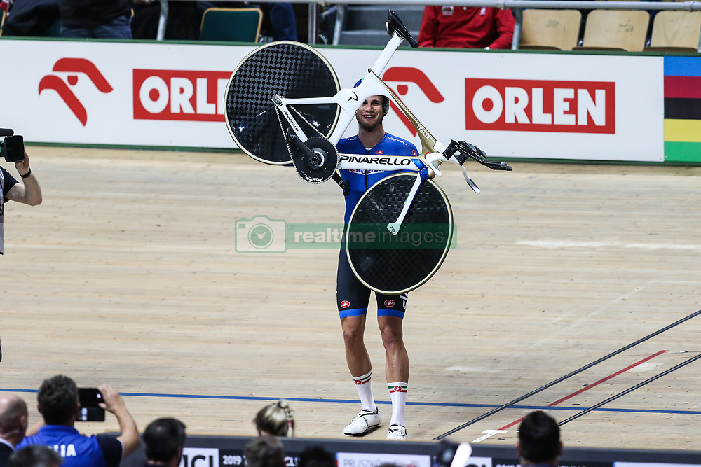 March 1, 2019 - Pruszkow, Poland - Filippo Ganna of Italy celebrates winng the gold medal in the Men's individual pursuit final on day three of the UCI Track Cycling World Championships held in the BGZ BNP Paribas Velodrome Arena on March 01, 2019 in Pruszkow, Poland. (Credit Image: © Foto Olimpik/NurPhoto via ZUMA Press)