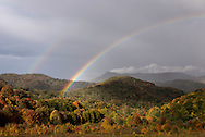 A rainbow appears after a fall shower in Ashe County, North Carolina