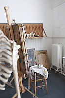 Skeleton and easel in artist's studio