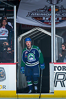 REGINA, SK - MAY 23: Glenn Gawdin #15 of the Swift Current Broncos steps on to the ice to accept the third star of the game against the Regina Pats at the Brandt Centre on May 23, 2018 in Regina, Canada. (Photo by Marissa Baecker/CHL Images)