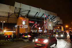 LIVERPOOL, ENGLAND - Wednesday, December 15, 2010: Traffic passes by the Spion Kop end of the famous Anfield Stadium before the UEFA Europa League Group K match between Liverpool and FC Utrecht at Anfield. (Photo by: David Rawcliffe/Propaganda)