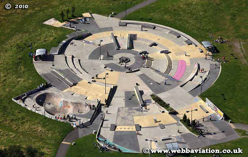 aerial photograph of Skate Park in  Stoke-on-Trent Staffordshire UK - the  Potteries