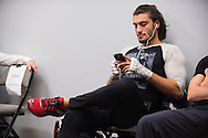 DALLAS, TX - MARCH 14:  Elias Theodorou prepares backstage before his fight against Roger Narvaez during UFC 185 at the American Airlines Center on March 14, 2015 in Dallas, Texas. (Photo by Cooper Neill/Zuffa LLC/Zuffa LLC via Getty Images) *** Local Caption *** Elias Theodorou