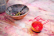 Red powder for blessing at Jagdish Mandir