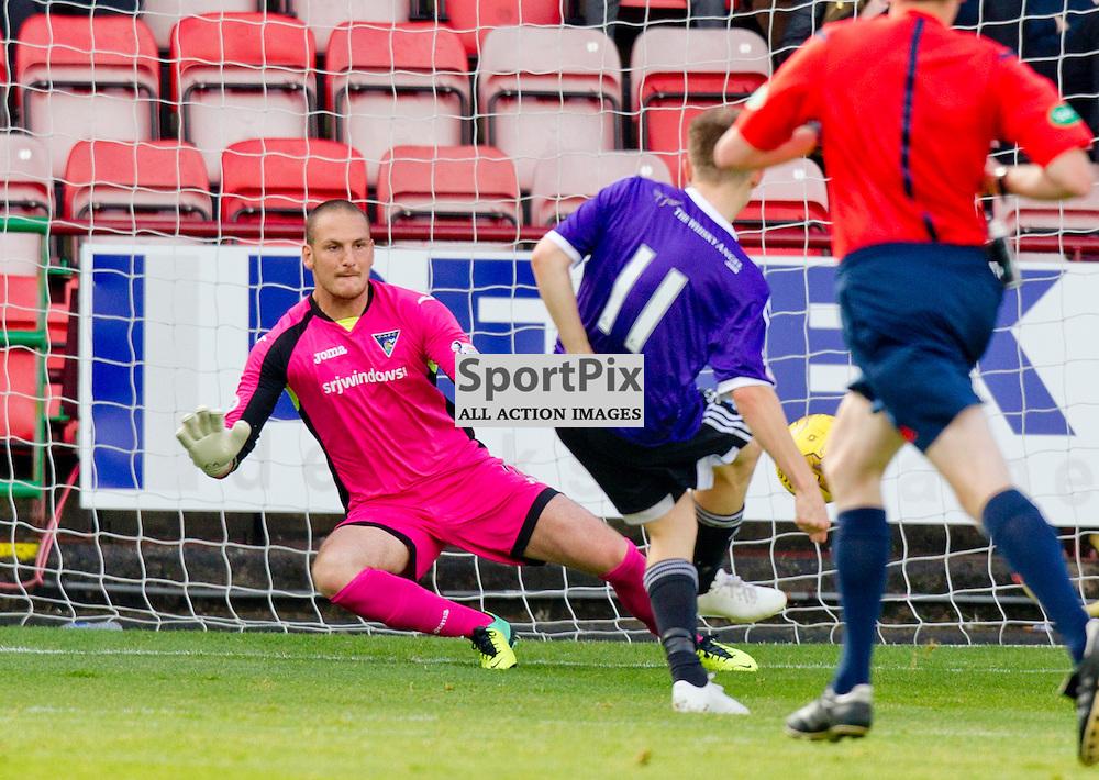 Dunfermline Athletic v Ayr United SPFL League One Season 2015/16 East End Park 12 September 2015<br /> Alan forest scores the opening  goal<br /> CRAIG BROWN | sportPix.org.uk