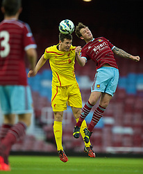 UPTON PARK, ENGLAND - Friday, September 12, 2014: Liverpool's Jordan Williams in action against West Ham United during the Under 21 FA Premier League match at Upton Park. (Pic by David Rawcliffe/Propaganda)