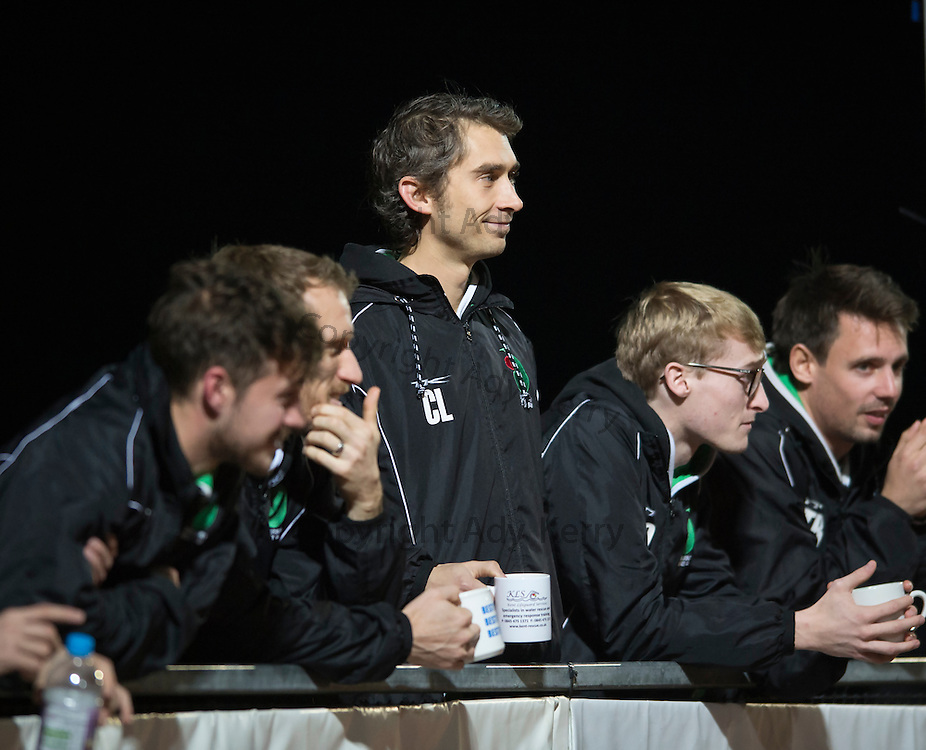 Chris Laslett and some the men's squad watch the Canterbury Ladies side take on Surbiton in the Investec Women's Premier League game at Polo Farm, Canterbury, Kent, 22nd November 2014.
