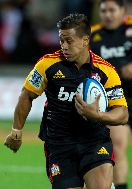 Chiefs' Tim Nanai-Williams runs home a try against the Sharks in a Super Rugby match, Waikato Stadium, Hamilton, New Zealand, Saturday, April 27, 2013.  Credit:SNPA / David Rowland