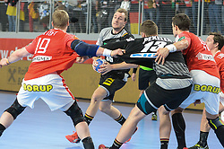 Julius Kuhn of Germany during handball match between National teams of Germany and Denmark on Day 4 in Main Round of Men's EHF EURO 2018, on January 21, 2018 in Arena Varazdin, Varazdin, Croatia. Photo by Mario Horvat / Sportida