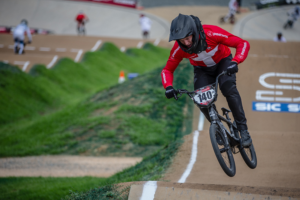 #140 (THERKELSEN Jimmi) DEN at Round 2 of the 2020 UCI BMX Supercross World Cup in Shepparton, Australia.