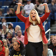 HARTFORD, CONNECTICUT- NOVEMBER 19: Head coach Brenda Frese of the Maryland Terrapins during the the UConn Huskies Vs Maryland Terrapins, NCAA Women's Basketball game at the XL Center, Hartford, Connecticut. November 19th, 2017 (Photo by Tim Clayton/Corbis via Getty Images)