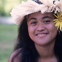 Cook Islands, K?ki '?irani, South Pacific Ocean, Aitutaki, portrait of dancer