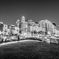 Charlotte North Carolina city at night black and white photo with Romare Bearden Park and downtown Charlotte buildings. Charlotte is a major city in North Carolina in the Eastern United States of America.