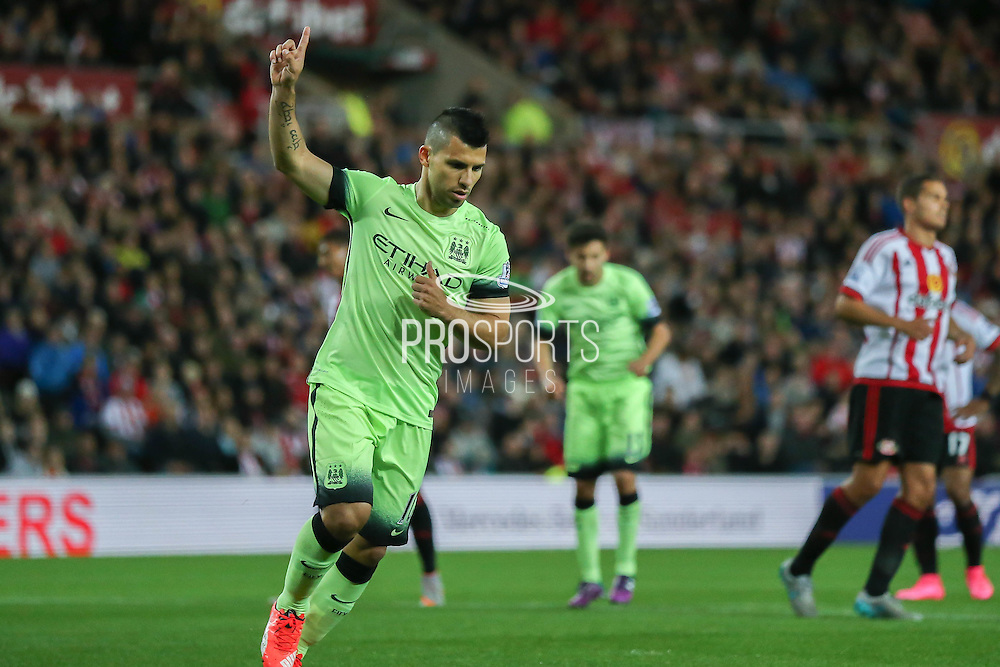Manchester City forward Sergio Agueroscores the penalty  during the Capital One Cup match between Sunderland and Manchester City at the Stadium Of Light, Sunderland, England on 22 September 2015. Photo by Simon Davies.
