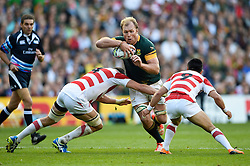 Schalk Burger of South Africa takes on the Japan defence - Mandatory byline: Patrick Khachfe/JMP - 07966 386802 - 19/09/2015 - RUGBY UNION - Brighton Community Stadium - Brighton, England - South Africa v Japan - Rugby World Cup 2015 Pool B.