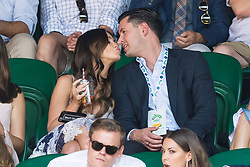 © Licensed to London News Pictures. 08/07/2017. London, UK. VICKY PATTISON and JOHN NOBLE watch center court tennis on the sixth of the Wimbledon Lawn Tennis Championships. Photo credit: Ray Tang/LNP
