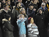 Fansof Hull City look nervous during the Sky Bet Championship match at Elland Road, Leeds<br /> Picture by Graham Crowther/Focus Images Ltd +44 7763 140036<br /> 05/12/2015