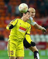 MOSCOW, RUSSIA - Thursday, November 8, 2012: Liverpool's Jonjo Shelvey in action against FC Anji Makhachkala's Rasim Tagirbekov during the UEFA Europa League Group A match at the Lokomotiv Stadium. (Pic by David Rawcliffe/Propaganda)