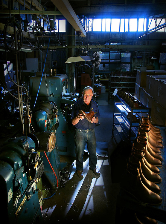 Ian Harold the ' Boot Man ' of Harold Boot Company. His boots factory is moving to the suburbs from the ancient factory in Abbotsford that it s occupied since 1921.  Pic By Craig Sillitoe  25/09/2008 SPECIALX 000 . melbourne photographers, commercial photographers, industrial photographers, corporate photographer, architectural photographers, This photograph can be used for non commercial uses with attribution. Credit: Craig Sillitoe Photography / http://www.csillitoe.com<br />