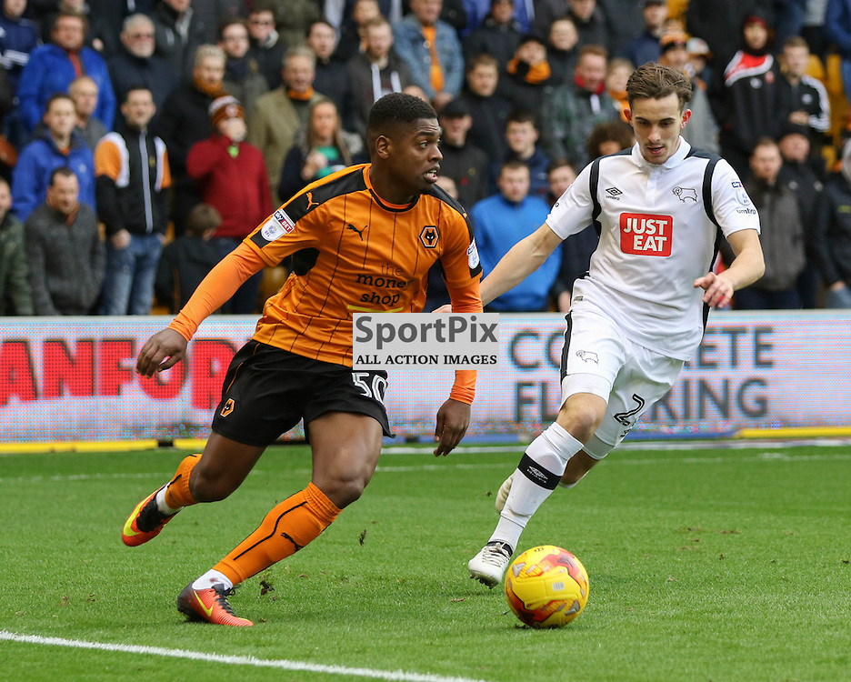 WOLVERHMPTON, UNITED KINGDOM 05 NOVEMBER 2016: Ivan Cavaleiro of Wolverhampton Wanderers prepares to cenrte the ball   during the league game between Wolverhampton Wanderers and Derby County in the Football League Championship at Molineux Stadium, on November 05, 2016 in Wolverhampton, England. (Photo by Michael Poole)
