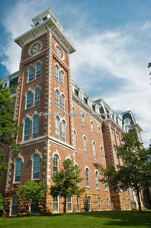 The south tower of Old Main on the University of Arkansas campus in Fayetteville, Arkansas.