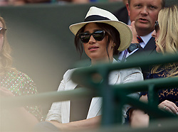 LONDON, ENGLAND - Thursday, July 4, 2019: Meghan Markle (Duchess of Sussex) watches from the Royal Box during the Ladies' Singles second round match on Day Four of The Championships Wimbledon 2019 at the All England Lawn Tennis and Croquet Club. Williams won 6-2, 2-6, 6-4. (Pic by Kirsten Holst/Propaganda)