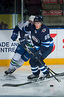 PENTICTON, CANADA - SEPTEMBER 8:  Rickard Hugg #88 of Winnipeg Jets skates with the puck against the Vancouver Canucks on September 8, 2017 at the South Okanagan Event Centre in Penticton, British Columbia, Canada.  (Photo by Marissa Baecker/Shoot the Breeze)  *** Local Caption ***
