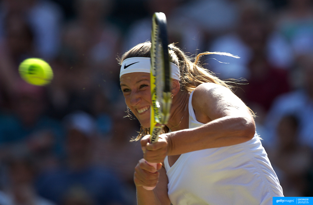 Victoria Azarenka, Bulgaria, in action against Serena Williams, USA, in the Ladies Singles Quarter Final match at the All England Lawn Tennis Championships at Wimbledon, London, England on Tuesday, June 30, 2009. Photo Tim Clayton.