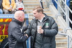Falkirk's manager Peter Houston and Hibernian's manager Alan Stubbs at the start.<br /> Falkirk 0 v 3 Hibernian, Scottish Championship game played at The Falkirk Stadium 2/5/2015.