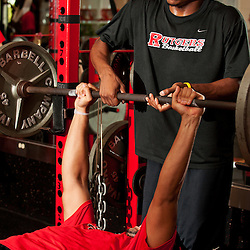 Rutgers' mens basketball team strength and conditioning workout .