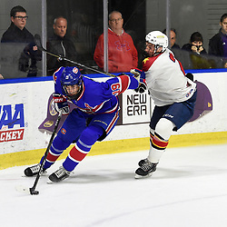 BUFFALO, NY - SEP 20,  2017: Ontario Junior Hockey League Governors Showcase game between the Toronto Jr. Canadiens and Wellington Dukes, Jack McBain #19 of the Toronto Jr. Canadiens battles for the puck with Declan Carlile #2 of the Wellington Dukes during the first period.<br /> (Photo by Andy Corneau / OJHL Images)
