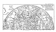 First part of the star chart of the Northern Celestial Hemisphere showing constellations. Engraving of 1747.