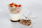 Granola fruit and yogurt take away meal