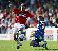 Photo: Paul Thomas.<br /> Peterborough United v Manchester United. Pre Season Friendly. 04/08/2007.<br /> <br /> New Utd signing Owen Hargreaves battles against Micah Hyde (R).