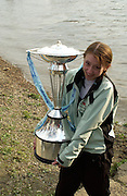 London, GREAT BRITAIN,  Cambridge cox Rebecca DOWBIGGIN, holds the Boat Race Trophy after cambridge win the 2007 Boat Race, on  Sat. April 7th. England [Photo Patrick White/Intersport Images] Varsity Boat Race, Rowing Course: River Thames, Championship course, Putney to Mortlake 4.25 Miles,