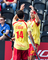 LONDON -  Unibet Eurohockey Championships 2015 in  London. Spain v France .  Spanish Xavi Lleonart (r) has scored 12-0. left Gabriel Dabanch.   WSP Copyright  KOEN SUYK