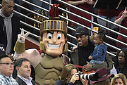 Feb 15, 2018; Los Angeles, CA, USA; Toronto Raptors guard and Southern California Trojans mascot DeMar DeRozan poses with Trojans mascot Tommy Trojan during an NCAA basketball game against the Oregon Ducks at Galen Center. USC defeated Oregon 72-70.