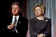 A 29 MG IMAGE OF:<br /> <br /> President and Mrs. Clinton together at a White House event <br /> <br /> Photo by Dennis Brack  B 8