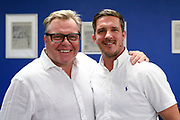 Wally Downes and Jon Main in AFC Wimbledon hospitality during the EFL Sky Bet League 1 match between AFC Wimbledon and Coventry City at the Cherry Red Records Stadium, Kingston, England on 11 August 2018.