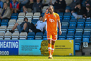Blackpool forward Nathan Delfouneso  (30) shortly after scoring a goal (0-2) during the EFL Sky Bet League 1 match between Gillingham and Blackpool at the MEMS Priestfield Stadium, Gillingham, England on 21 April 2018. Picture by Martin Cole.