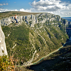 Salewa ambassador, Mich Kemeter, on an impressive onsight send of a 60m highline, 200m high, rigged in the Sordidon sector of Verdon Gorges, France...2012 © Pedro Pimentel