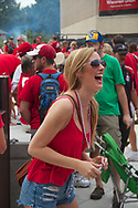 A student has fun at Badger Bash at Union South in 2012.