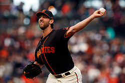 SAN FRANCISCO, CA - SEPTEMBER 15: Madison Bumgarner #40 of the San Francisco Giants pitches against the Colorado Rockies during the first inning at AT&T Park on September 15, 2018 in San Francisco, California. The San Francisco Giants defeated the Colorado Rockies 3-0. (Photo by Jason O. Watson/Getty Images) *** Local Caption *** Madison Bumgarner