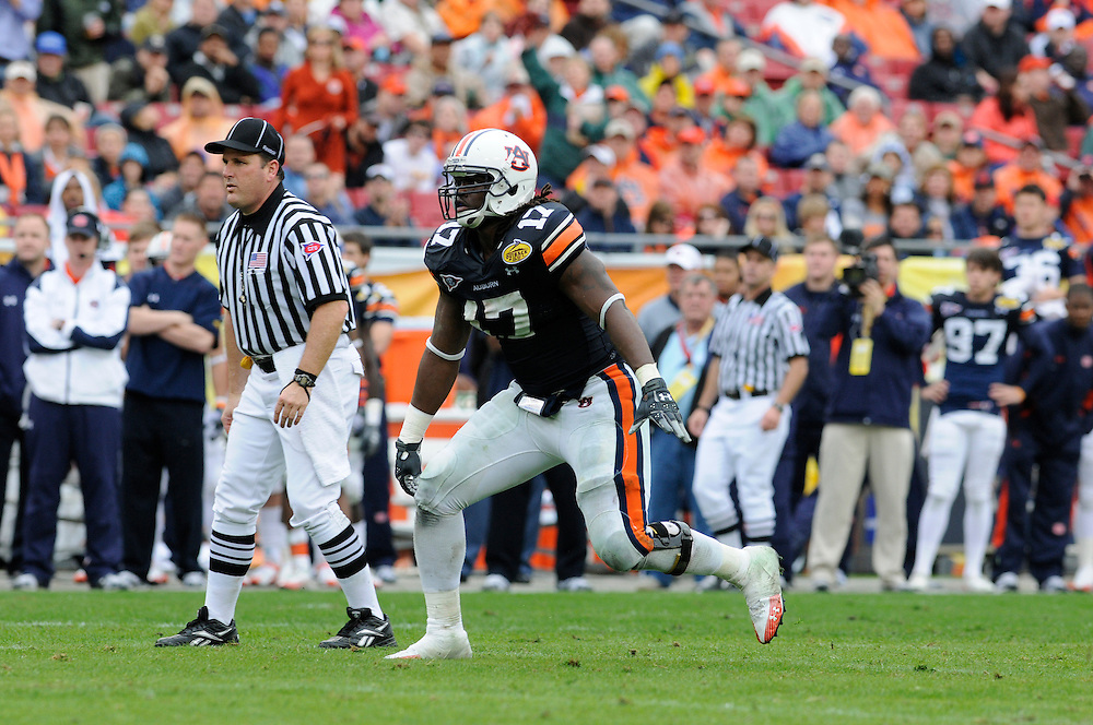 January 1, 2010: Josh Bynes of the Auburn Tigers in action during the NCAA football game between the Northwestern Wildcats and the Auburn Tigers in the Outback Bowl. The Tigers defeated the Wildcats 38-35 in overtime.