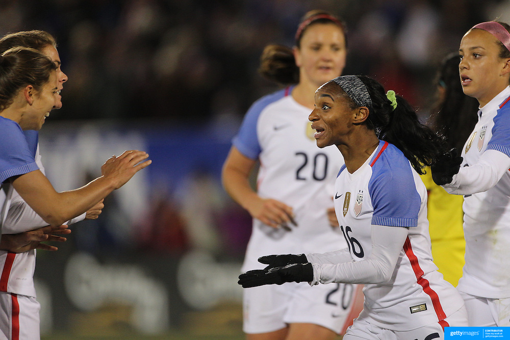 Crystal Dunn, USA, celebrates after scoring during the USA Vs Colombia, Women's International friendly football match at the Pratt & Whitney Stadium, East Hartford, Connecticut, USA. 6th April 2016. Photo Tim Clayton
