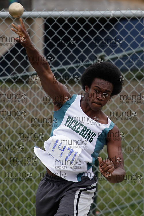 Tarrick Brissett of Pickering HS - Ajax competes at the 2013 OFSAA Track and Field Championship in Oshawa Ontario, Friday,  June 7, 2013.<br /> Mundo Sport Images/ Geoff Robins