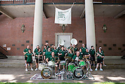 """Members of the Ohio Alumni Varsity Band prepare to perform for Ohio Univeristy alumni and their families during a barbecue on the College Green on May 31, 2014. The event was part of the """"On The Green"""" weekend, hosted by the Ohio University Alumni Association. Photo by Lauren Pond"""